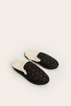 Womensecret Black moccasin slippers white