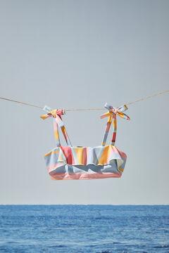 Womensecret Bikini-Top Mädchen Streifen Rüschen mit Print