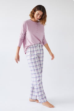Womensecret Long checked flannel trousers printed