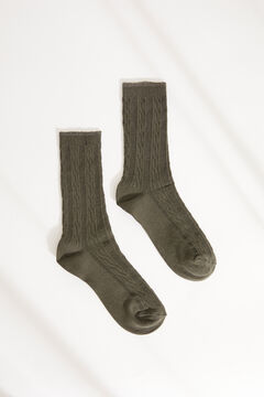 Womensecret Ribbed mid-length socks green
