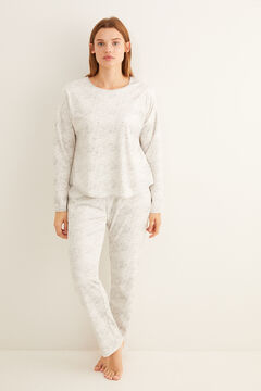 Womensecret Long grey velour crystal details pyjamas grey