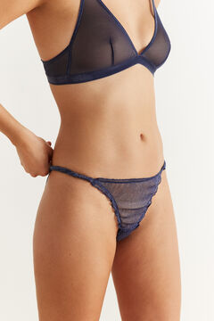 Womensecret Classic strappy panty in shiny blue tulle blue