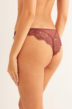 Womensecret Burgondy classic plumetis panty red