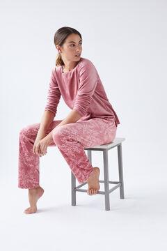 Womensecret Pijama comprido estampagem renda vermelho