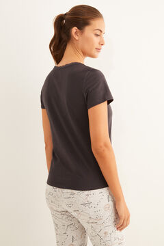 Womensecret Navy short-sleeved Henley t-shirt grey