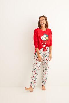 Womensecret Pijama largo invierno algodón Snoopy rojo