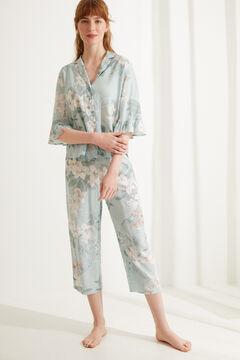 Womensecret Blue floral classic capri pyjamas white
