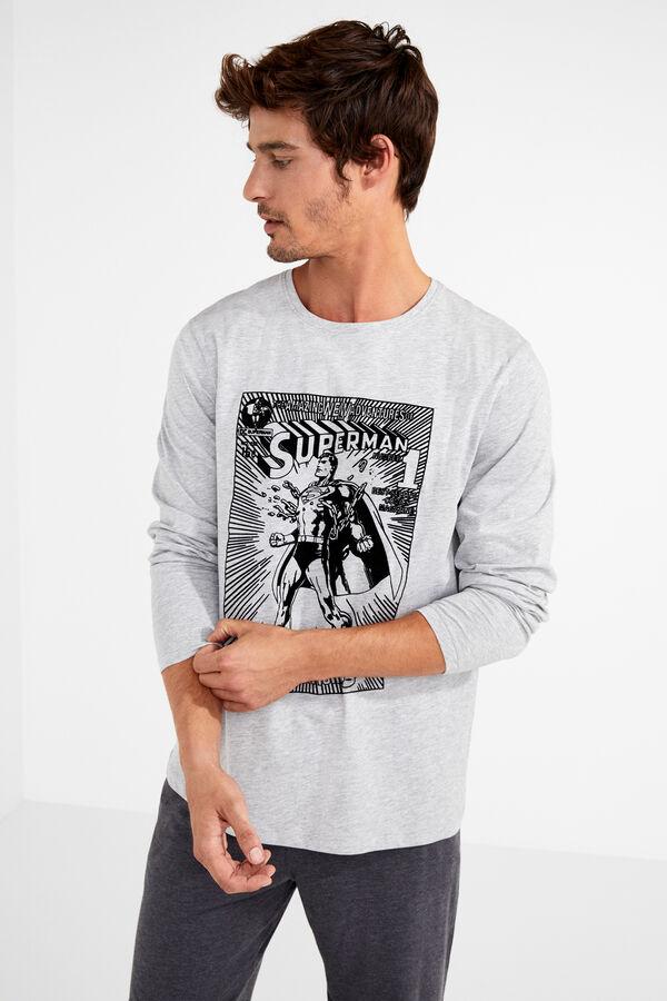 f8f14051d1 Womensecret Pijama largo algodón Superman para hombre gris