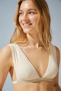 Womensecret Beige sparkly halterneck bikini top beige