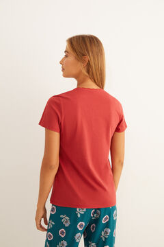 Womensecret Maroon short-sleeved cotton Henley t-shirt printed