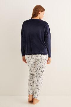 Womensecret - Roxfort mintás, hosszú bársonypizsama kék