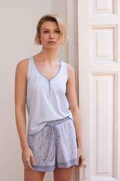 Womensecret Short border print pyjamas blue