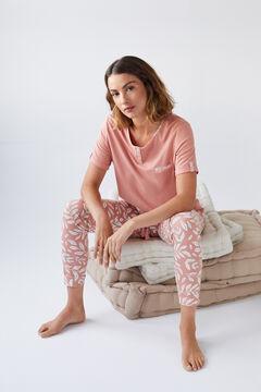 Womensecret Organic cotton long pyjamas with short sleeves pink