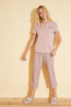 Womensecret Pink Snoopy cotton capri pyjamas pink