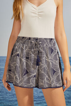 Womensecret Pantalon court bleu garnitures blanc