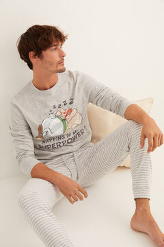 Womensecret Men's long Asterix and Obelix pyjamas in grey grey