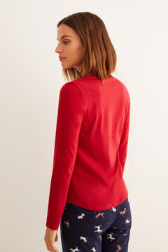 Womensecret Red long-sleeved Henley top burgundy