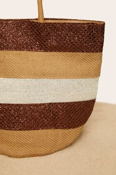 Womensecret Striped raffia bag nude