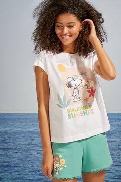 Womensecret T-shirt 100 % coton manches courtes Snoopy beige