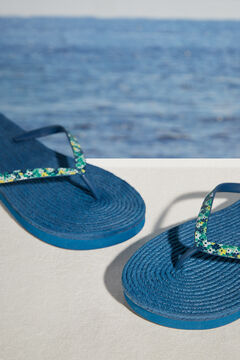 Womensecret Blue floral raffia flip-flops blue