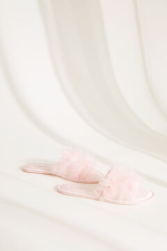 Womensecret Pink satin slider slippers with feathers pink