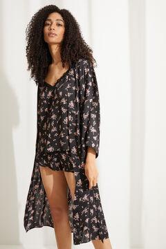 Womensecret Floral print satin kimono robe printed