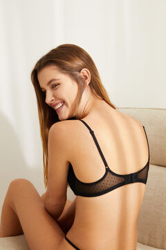 Womensecret GORGEOUS Black flocked tulle push-up bra black