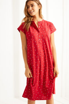 Womensecret Red floral organic cotton short-sleeved midi nightgown printed