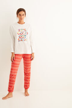 Womensecret Pijama largo polar estampado letras gris