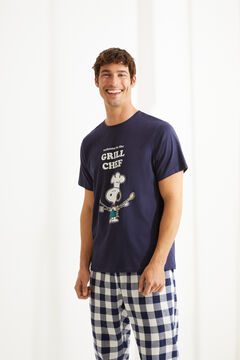 Womensecret Langer Pyjama mit kurzen Ärmeln Snoopy Blau