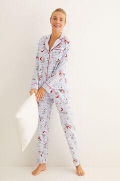 Womensecret Classic cotton striped Snoopy pyjamas blue