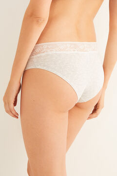Womensecret Lace detail printed cotton boyshort panty grey