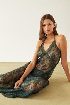 Womensecret Long green lace nightgown green