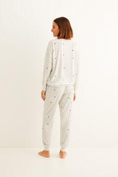 Womensecret Pijama comprido inverno estrelas cinzento cinzento