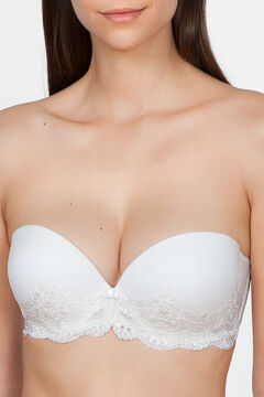 Womensecret Ivette Bridal white strapless bra with double push-up beige