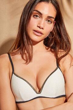 Womensecret Haut de bikini dos nu rayures beige