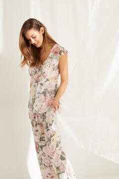 Womensecret Green floral short-sleeved capri pyjamas white