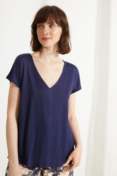 Womensecret Blue jersey-knit short-sleeved pyjama top blue