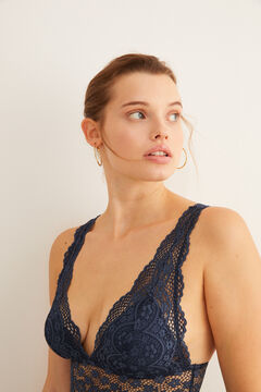 Womensecret Blue lace V-neck body blue