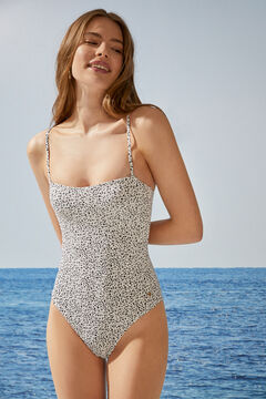 Womensecret Animal print shaping swimsuit with crossover back nude