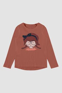 Womensecret Camiseta de niña manga larga rojo