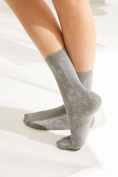 Womensecret Pack of 3 long grey ribbed socks grey