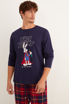 Womensecret Men's long grey Bugs Bunny pyjamas blue