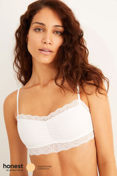 Womensecret White organic cotton crop top white