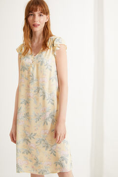 Womensecret Yellow floral short-sleeved midi nightgown printed