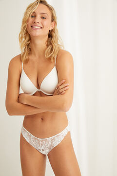 Womensecret GORGEOUS Soutien push-up tule microfibra e renda branco branco