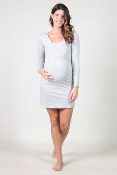 Womensecret Striped maternity nursing nightgown with low neckline grey