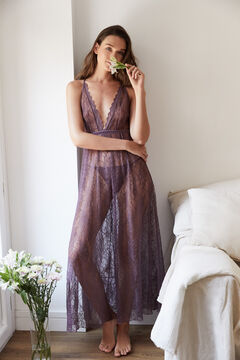 Womensecret Long maroon lace nightgown printed