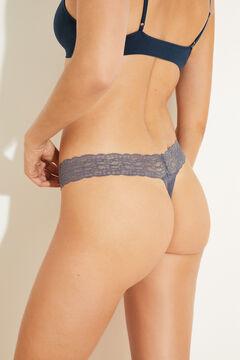 Womensecret Blue lace and microfibre tanga blue