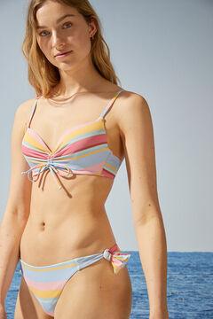 Womensecret Striped ruched push-up bikini top white